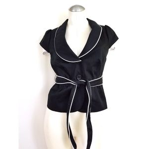 The Limited Size S Belted Blazer Black White Trim